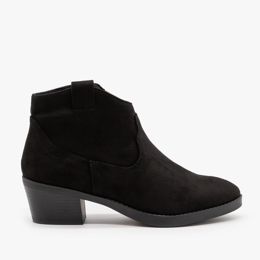 Womens Simple Western Ankle Booties - Soda Shoes - Black / 5