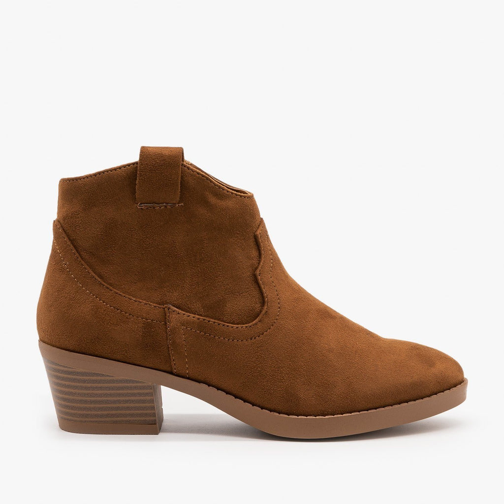 Womens Simple Western Ankle Booties - Soda Shoes - Chestnut / 5
