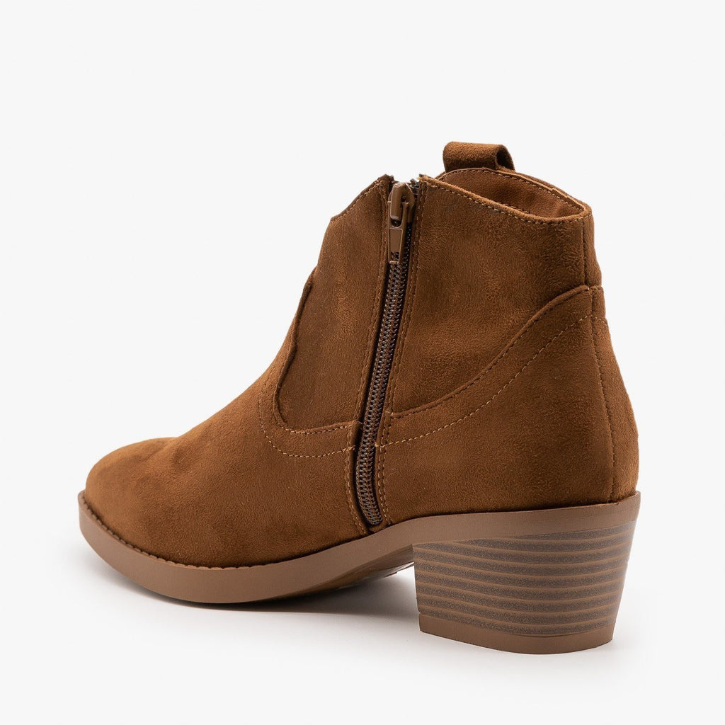 Womens Simple Western Ankle Booties - Soda Shoes