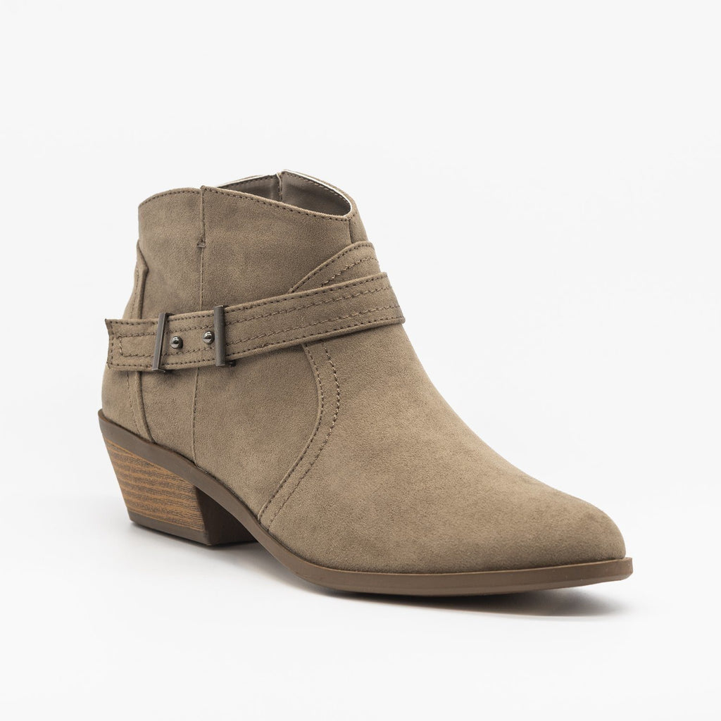 Womens Simply Western Ankle Booties - Qupid Shoes - Taupe / 5