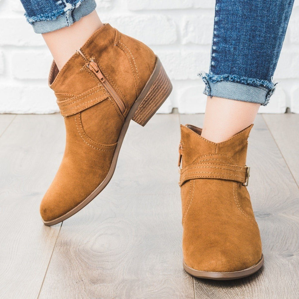 Womens Simply Western Ankle Booties - Qupid Shoes