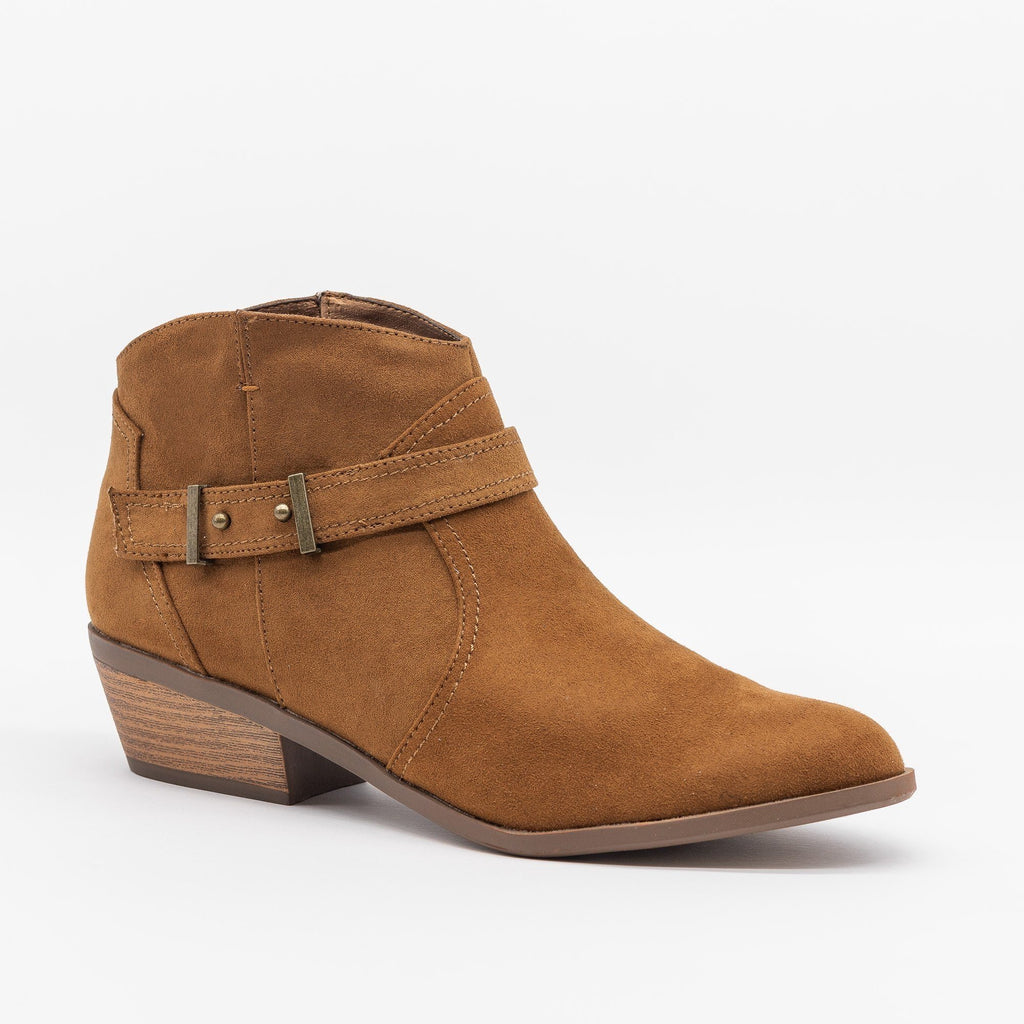 Womens Simply Western Ankle Booties - Qupid Shoes - Maple / 5