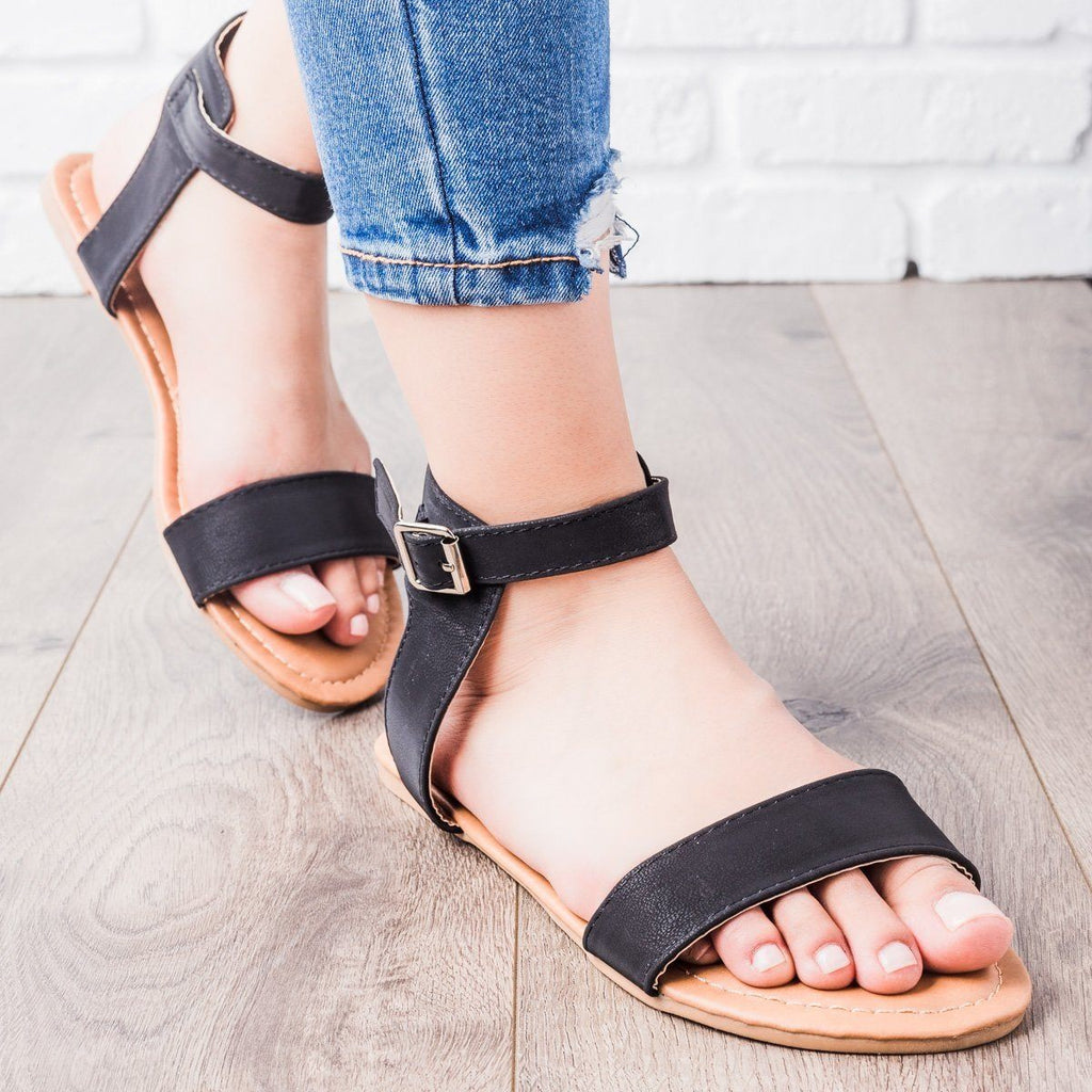 Womens Single Strap Sandals - Anna Shoes - Black / 5.5