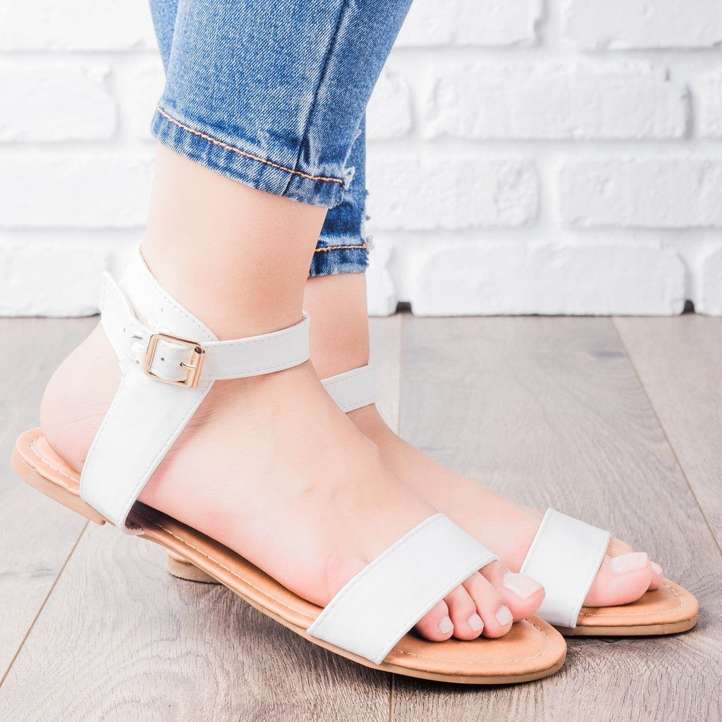 Womens Single Strap Sandals - Anna Shoes - White / 7.5