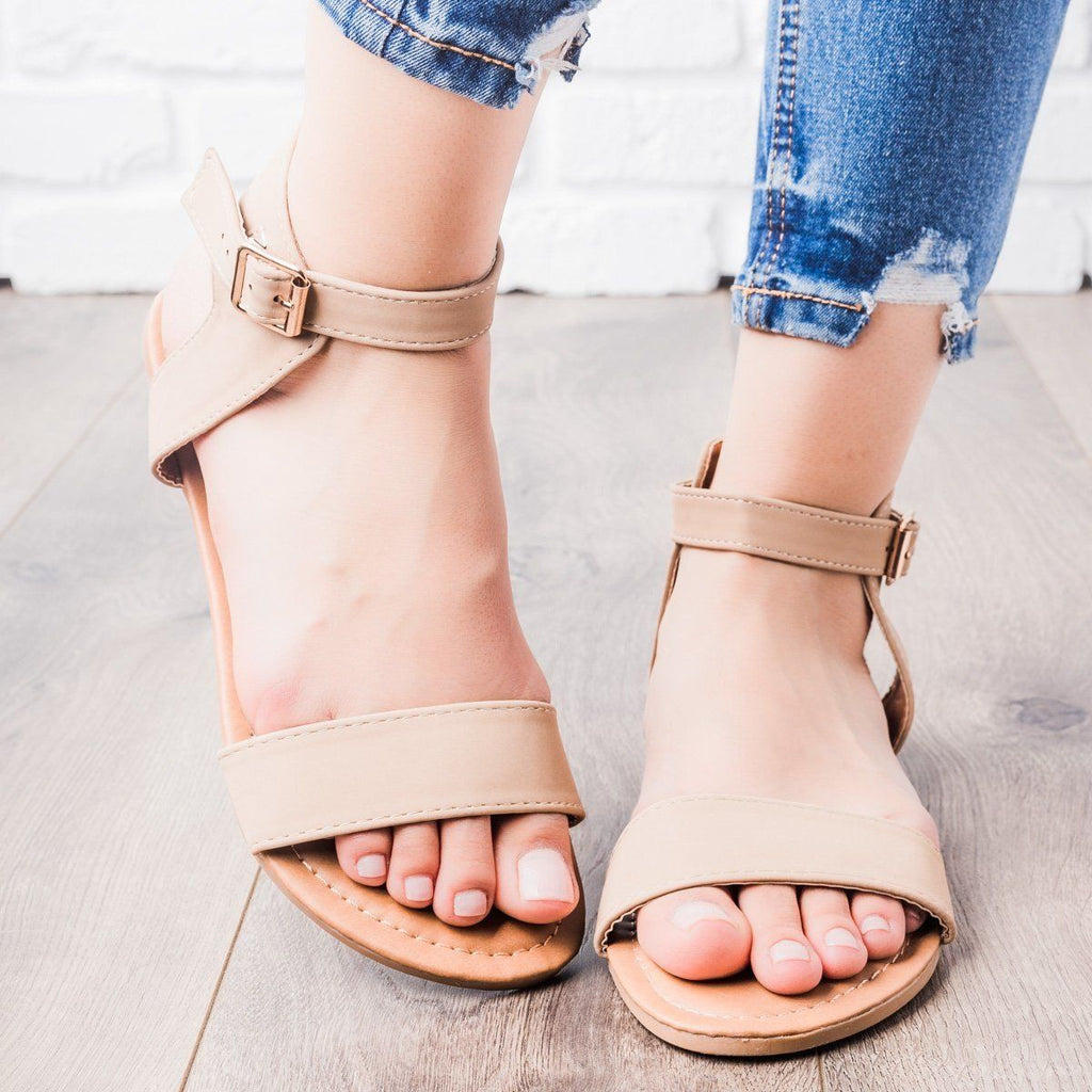 Womens Single Strap Sandals - Anna Shoes - Taupe / 8.5