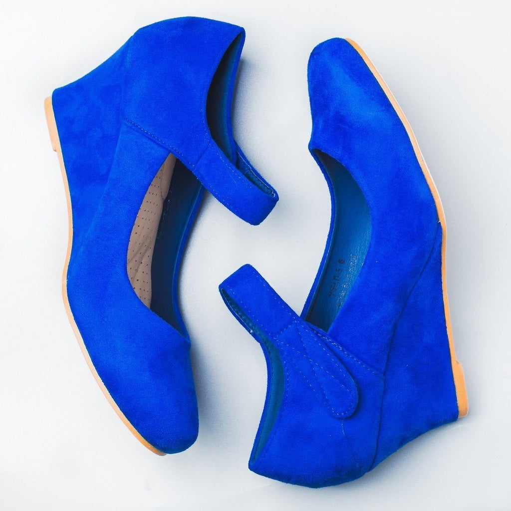 Womens Skinny Wedge Heels - Anna Shoes - Royal Blue / 5