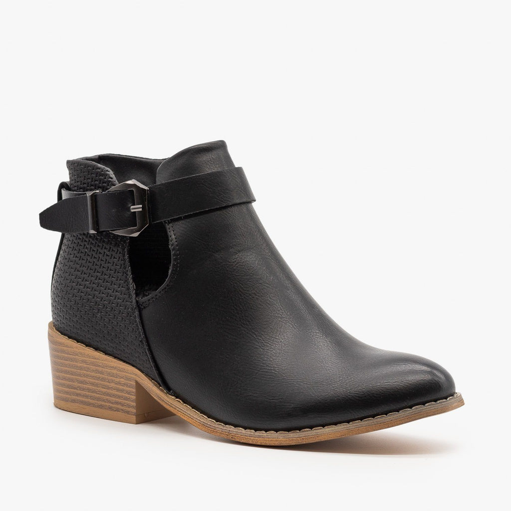 Womens Sleek Buckle Strap Booties - Reneeze Shoes
