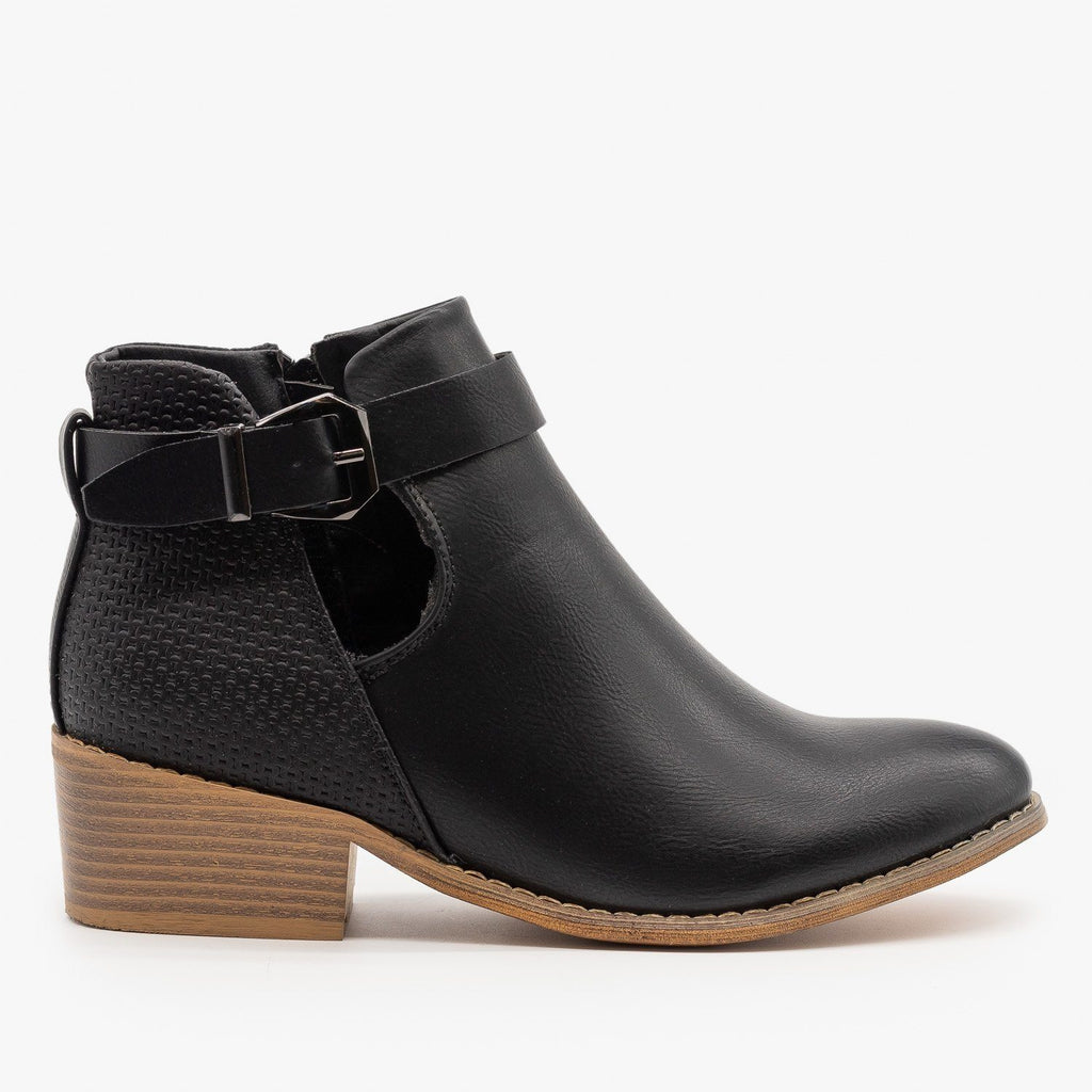Womens Sleek Buckle Strap Booties - Reneeze Shoes - Black / 5.5