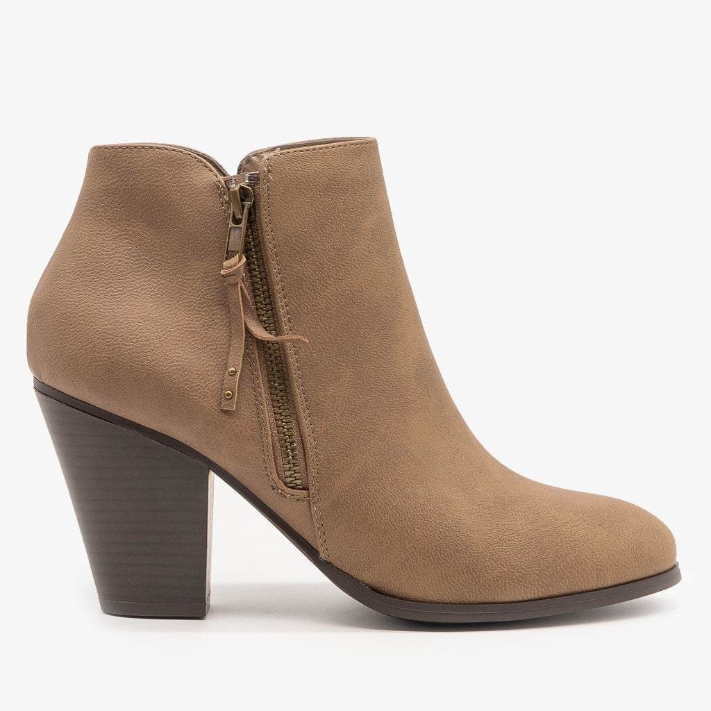 Womens Sleek Essential Fashion Booties - City Classified Shoes - Stone / 5