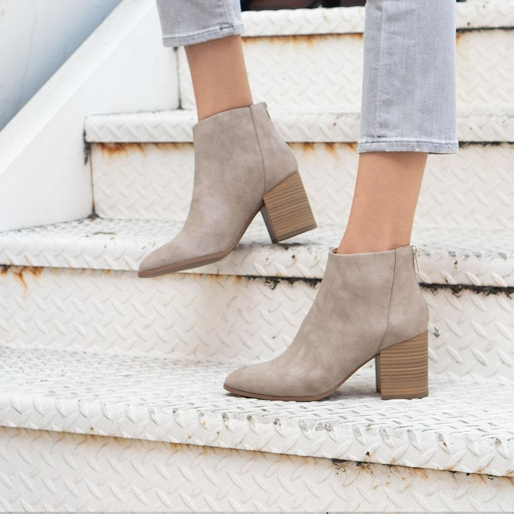 Women's Sleek Minimalist Booties - Delicious Shoes - Taupe / 5