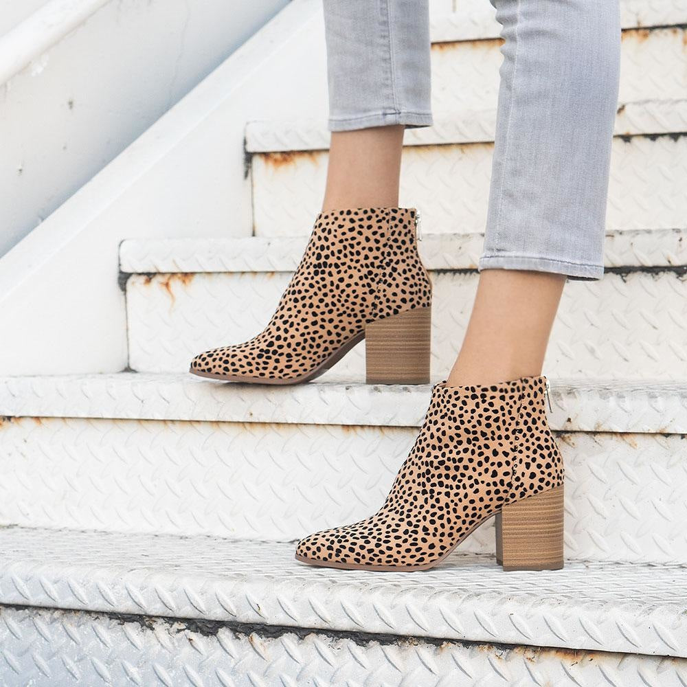 Women's Sleek Statement Booties - Delicious Shoes - Natural Cheetah / 5