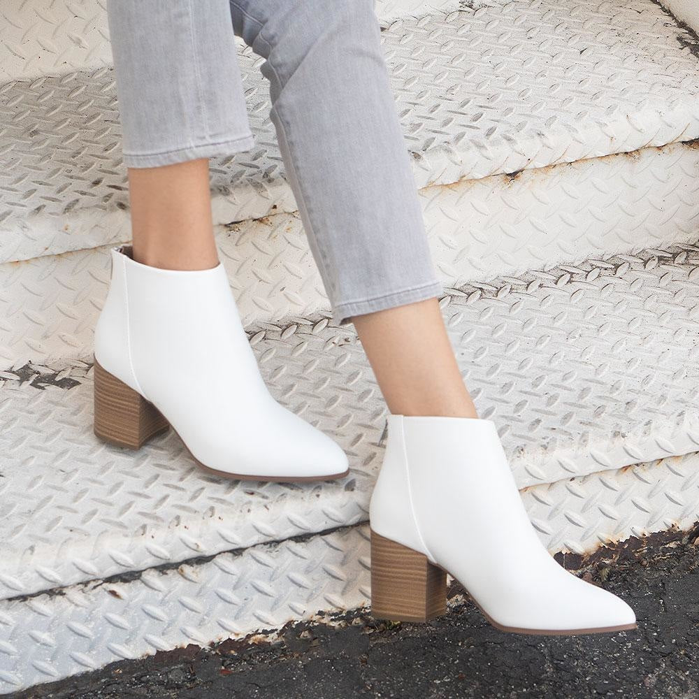 Women's Sleek Statement Booties - Delicious Shoes - White / 5