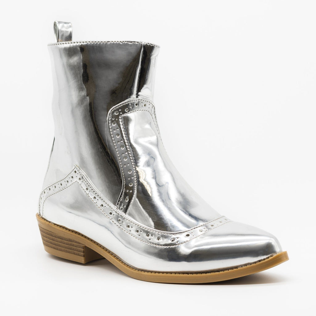 Womens Sleek Stylish Oxford Boots - ML Shoes - Silver / 5
