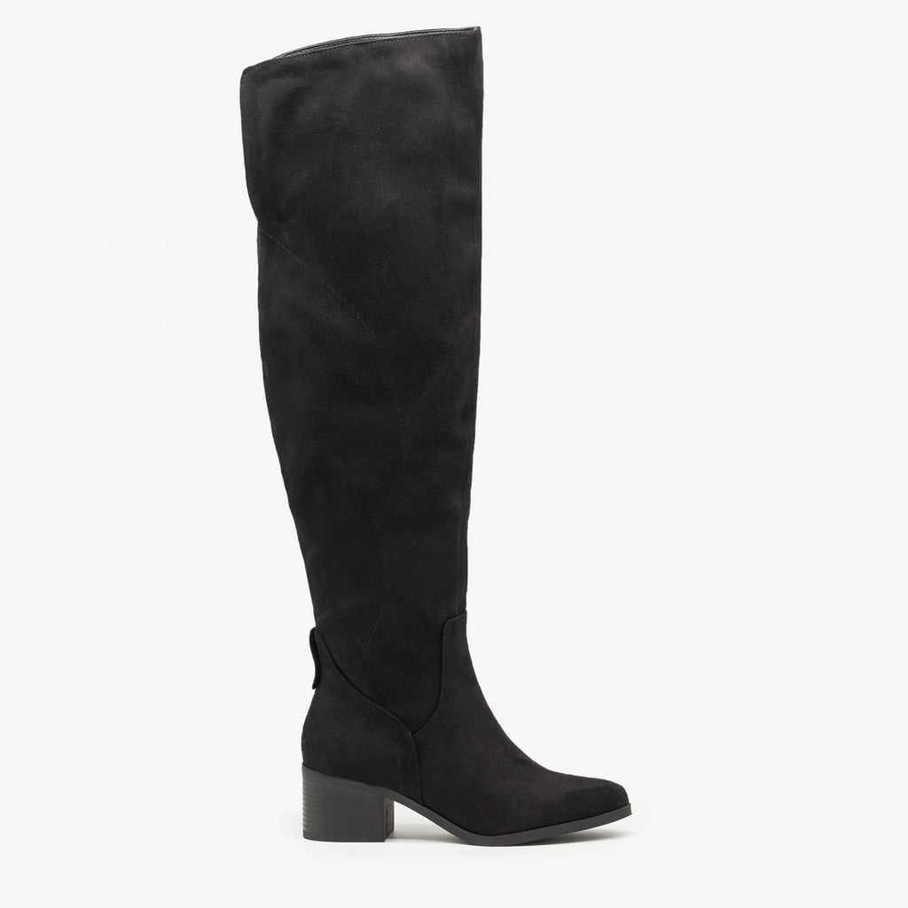 Womens Sleek Thigh High Boots - Soda Shoes - Black / 5