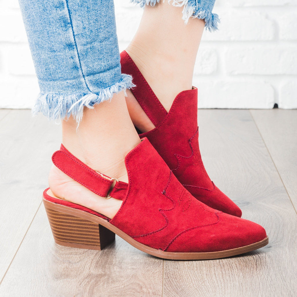 Womens Slingback Chunky Heel Mules - Qupid Shoes - Adobe Red / 5