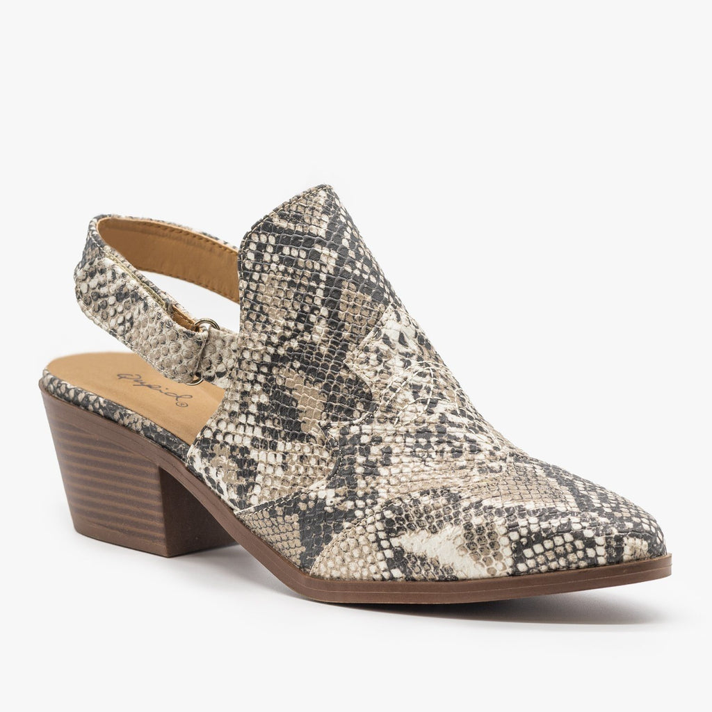 Womens Slingback Chunky Heel Mules - Qupid Shoes - Snakeskin / 5