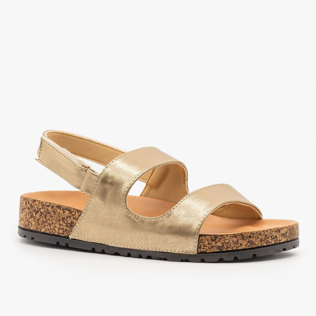 Womens Slingback Cork Slides - Qupid Shoes - Gold / 5