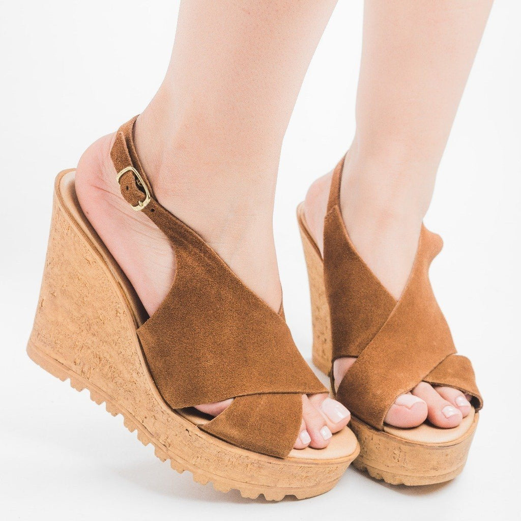 Womens Slingback Cross-Strap Wedges - Bamboo Shoes - Cognac / 5