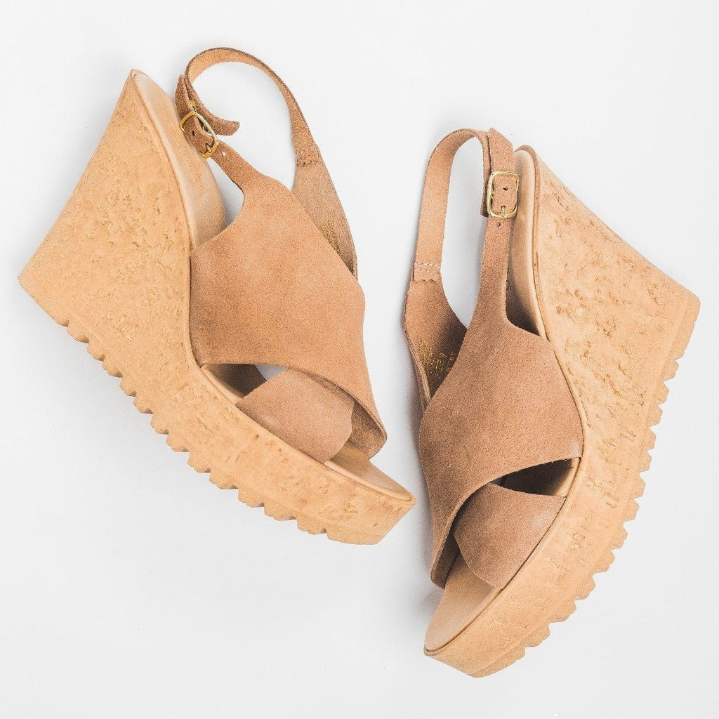 Womens Slingback Cross-Strap Wedges - Bamboo Shoes - Camel / 5
