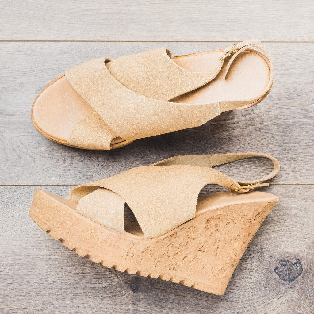 Womens Slingback Cross-Strap Wedges - Bamboo Shoes - Nude / 5