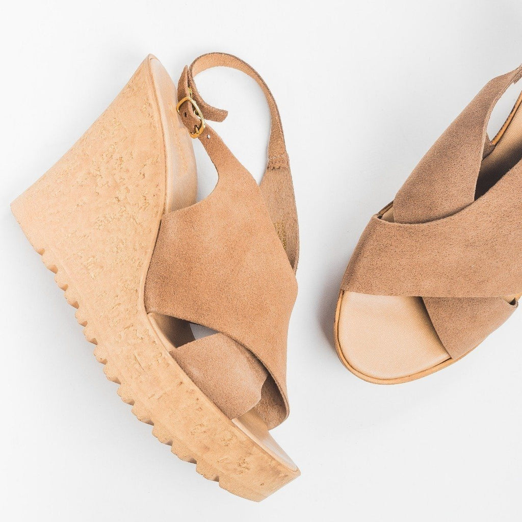 Womens Slingback Cross-Strap Wedges - Bamboo Shoes