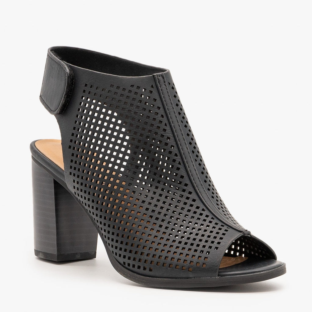 Womens Slingback Laser Cut Booties - City Classified Shoes
