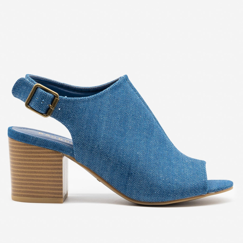 Women's Slingback Stacked Heel Mules - Bamboo Shoes - Blue Denim / 5