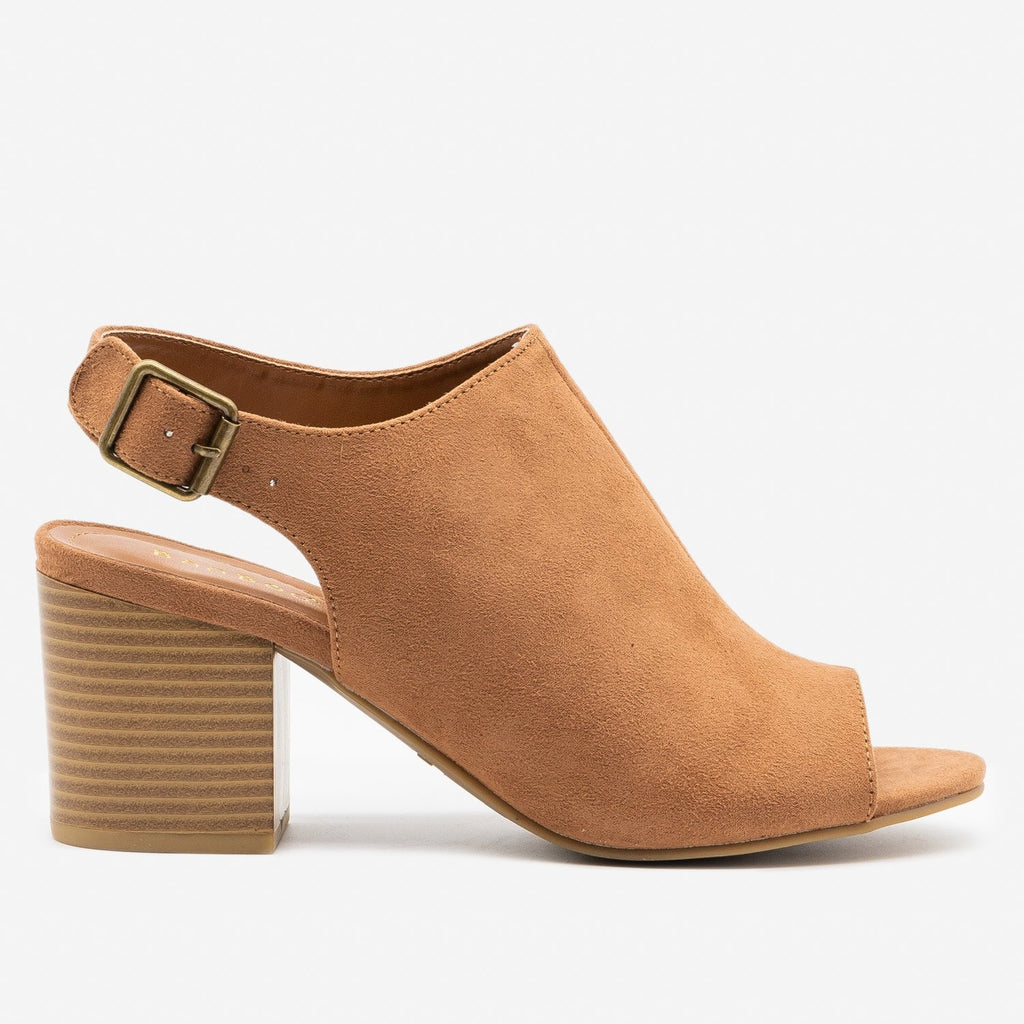 Women's Slingback Stacked Heel Mules - Bamboo Shoes - Camel / 5