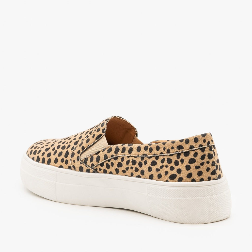 Womens Slip On Cheetah Fashion Sneakers - Mata