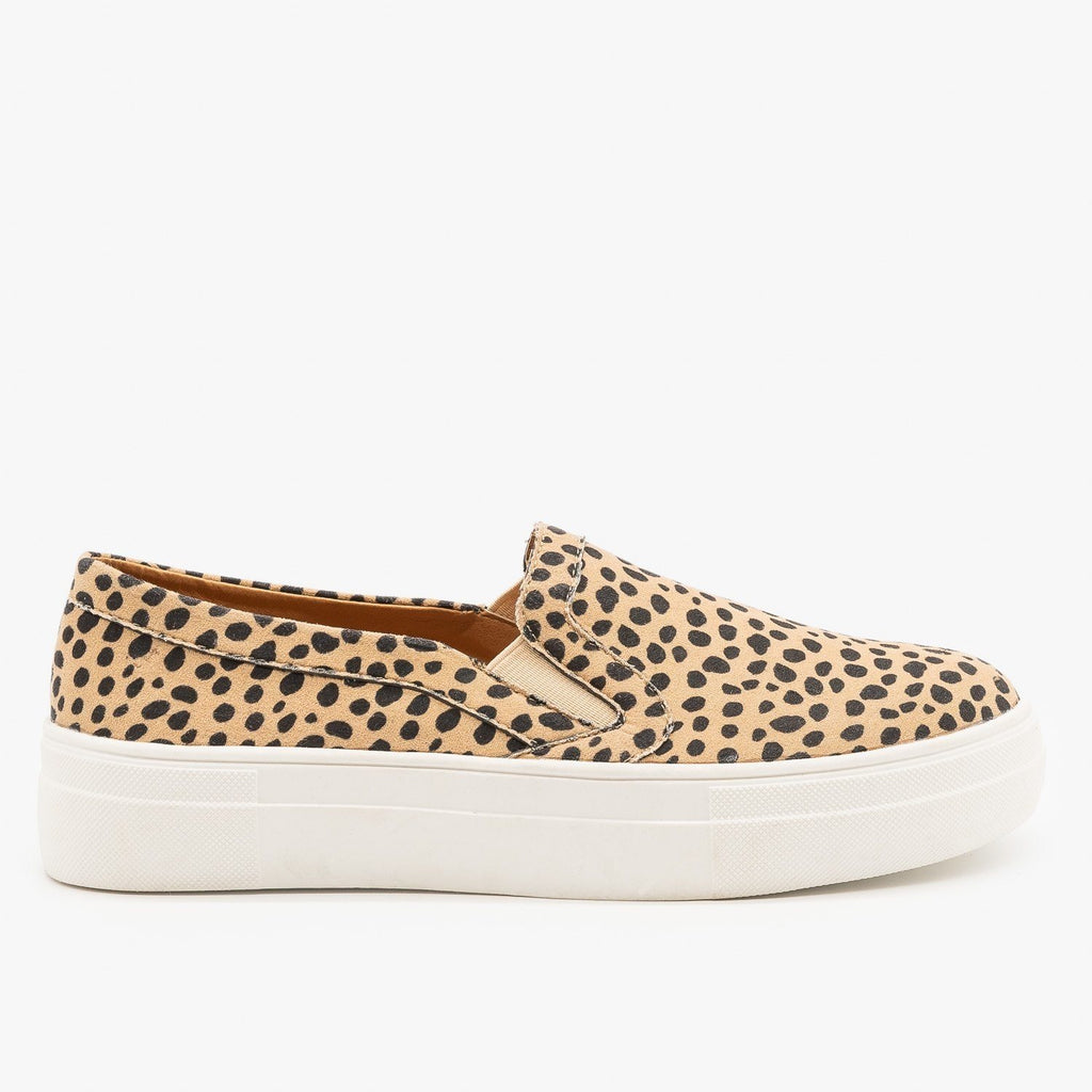 Womens Slip On Cheetah Fashion Sneakers - Mata - Cheetah / 5