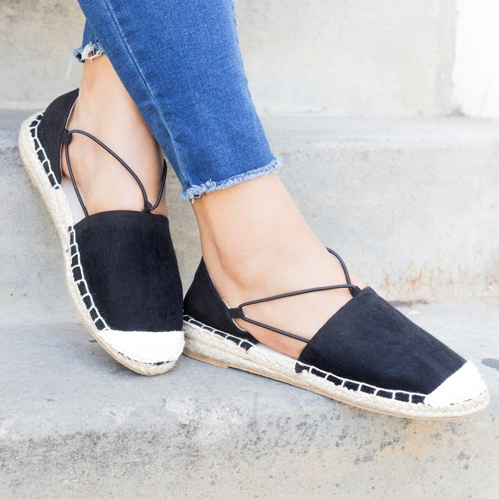 Womens Slip-On Espadrille Flats - Qupid Shoes - Black / 5