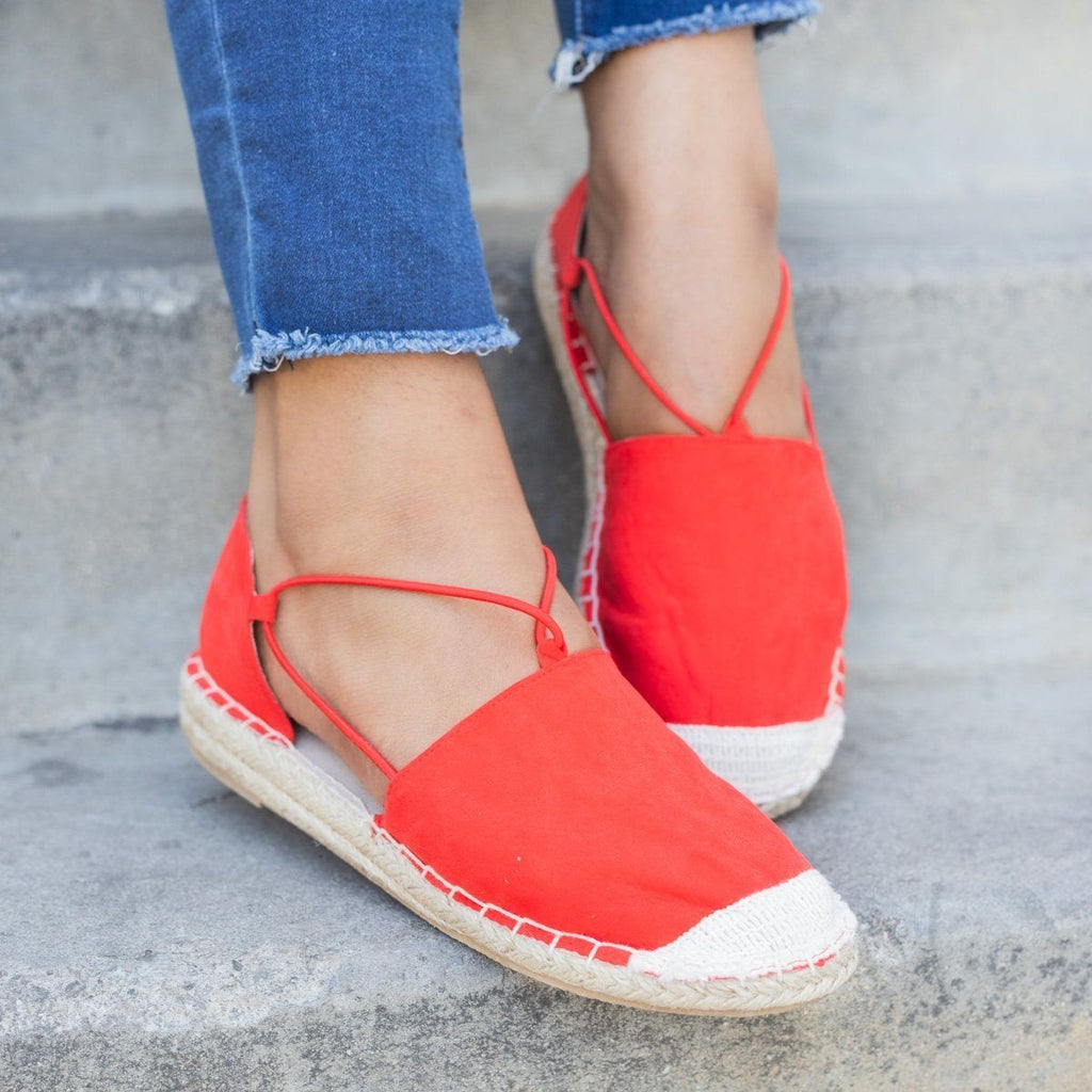 Womens Slip-On Espadrille Flats - Qupid Shoes - Blood Orange / 5