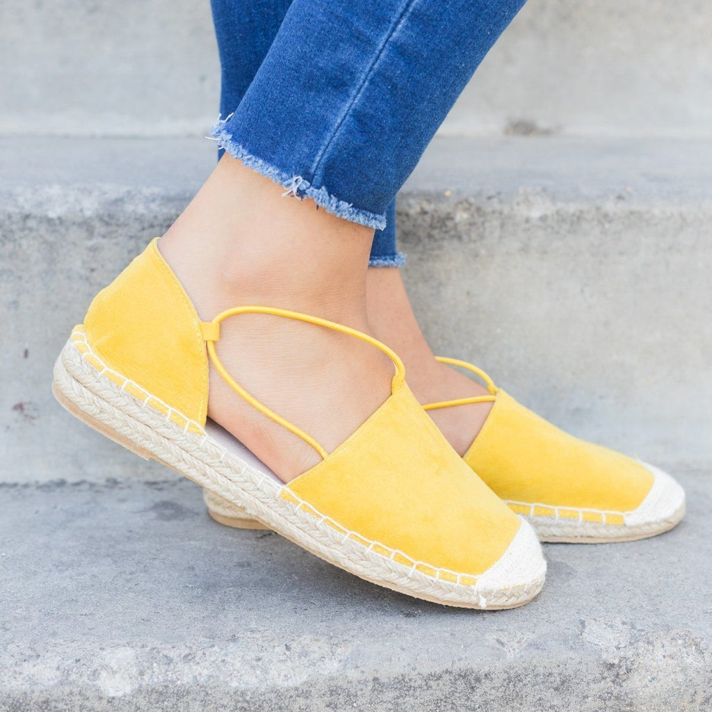 Womens Slip-On Espadrille Flats - Qupid Shoes - Yellow / 8.5
