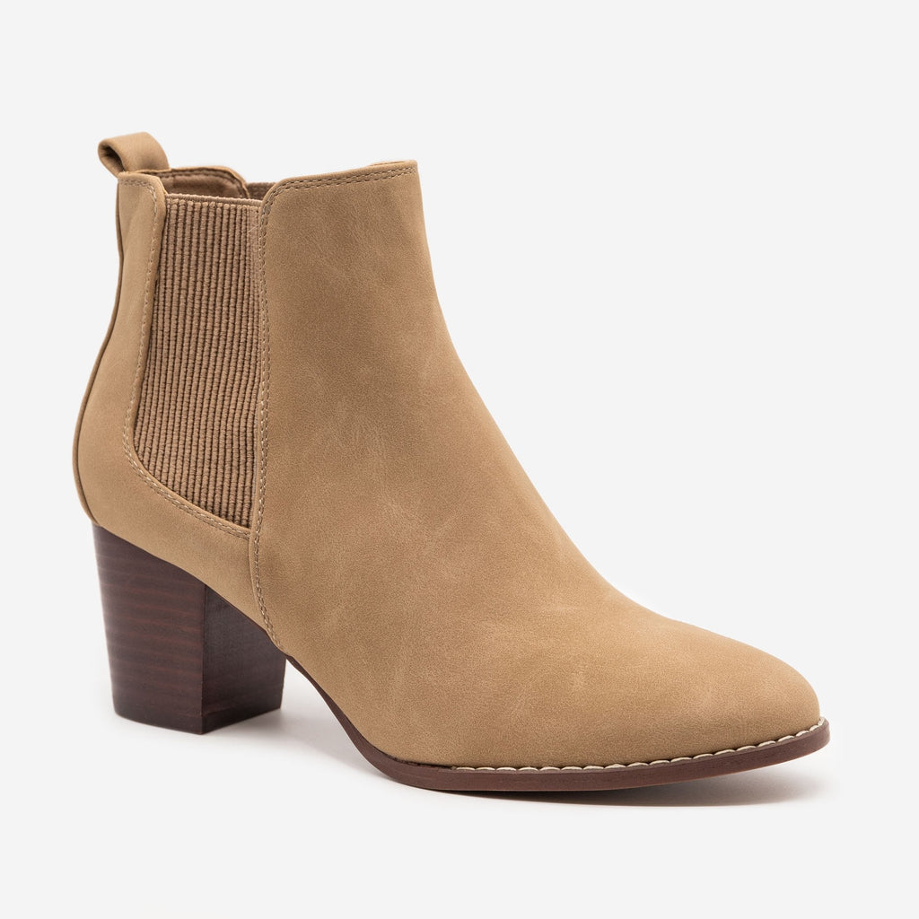 Women's Slip-on Everyday Booties - Novo Shoes - Taupe / 5