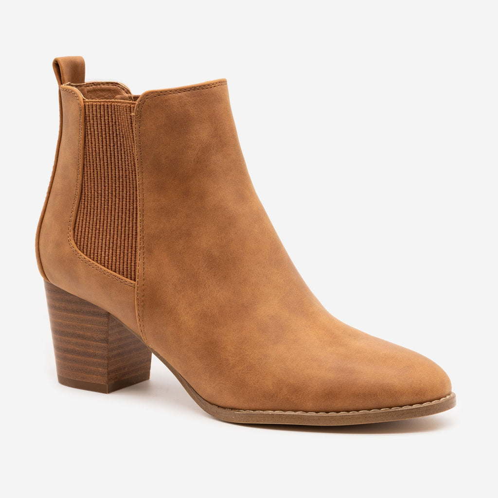 Women's Slip-on Everyday Booties - Novo Shoes - Tan / 5