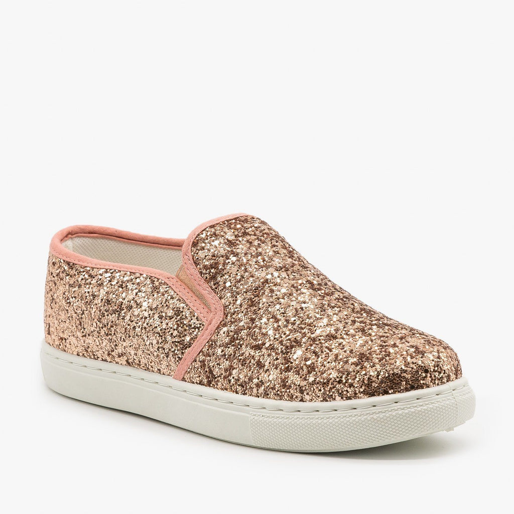 Womens Slip-On Glitter Sneakers - Anna Shoes - Champagne / 6