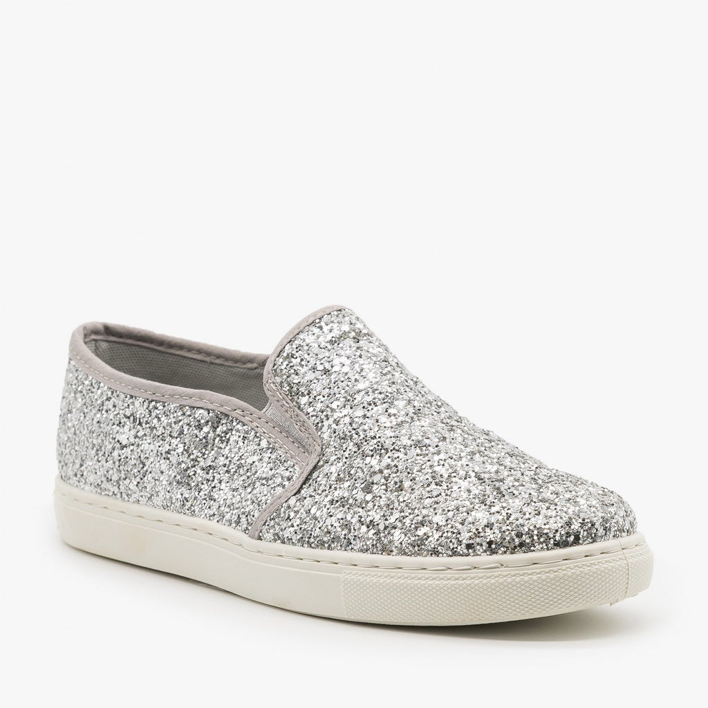 Womens Slip-On Glitter Sneakers - Anna Shoes - Silver / 6