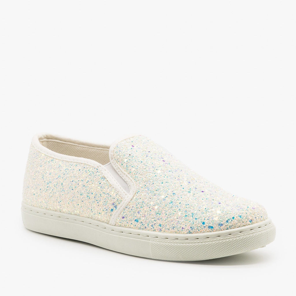 Womens Slip-On Glitter Sneakers - Anna Shoes - White / 6.5