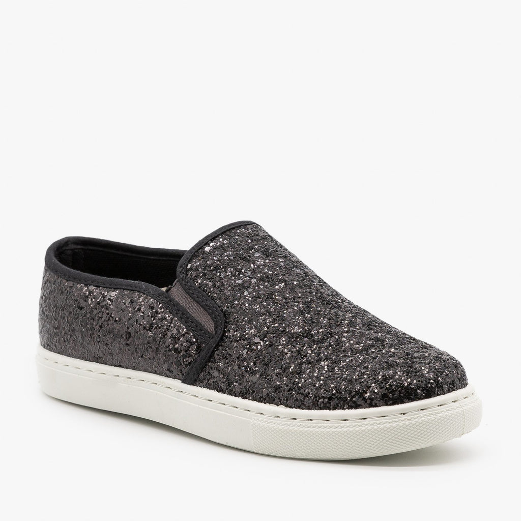 Womens Slip-On Glitter Sneakers - Anna Shoes - Black / 6