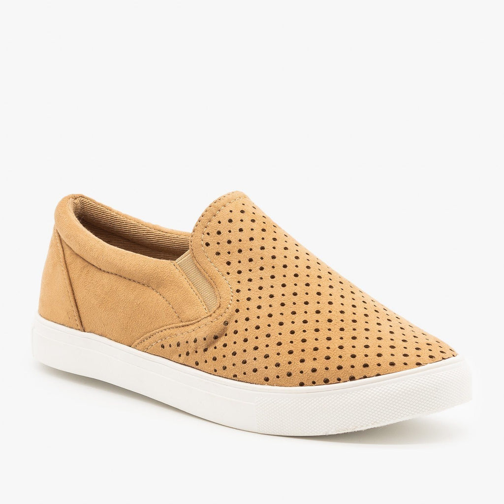 Womens Slip On Pinhole Sneakers - La Sheelah Shoes - Camel / 5
