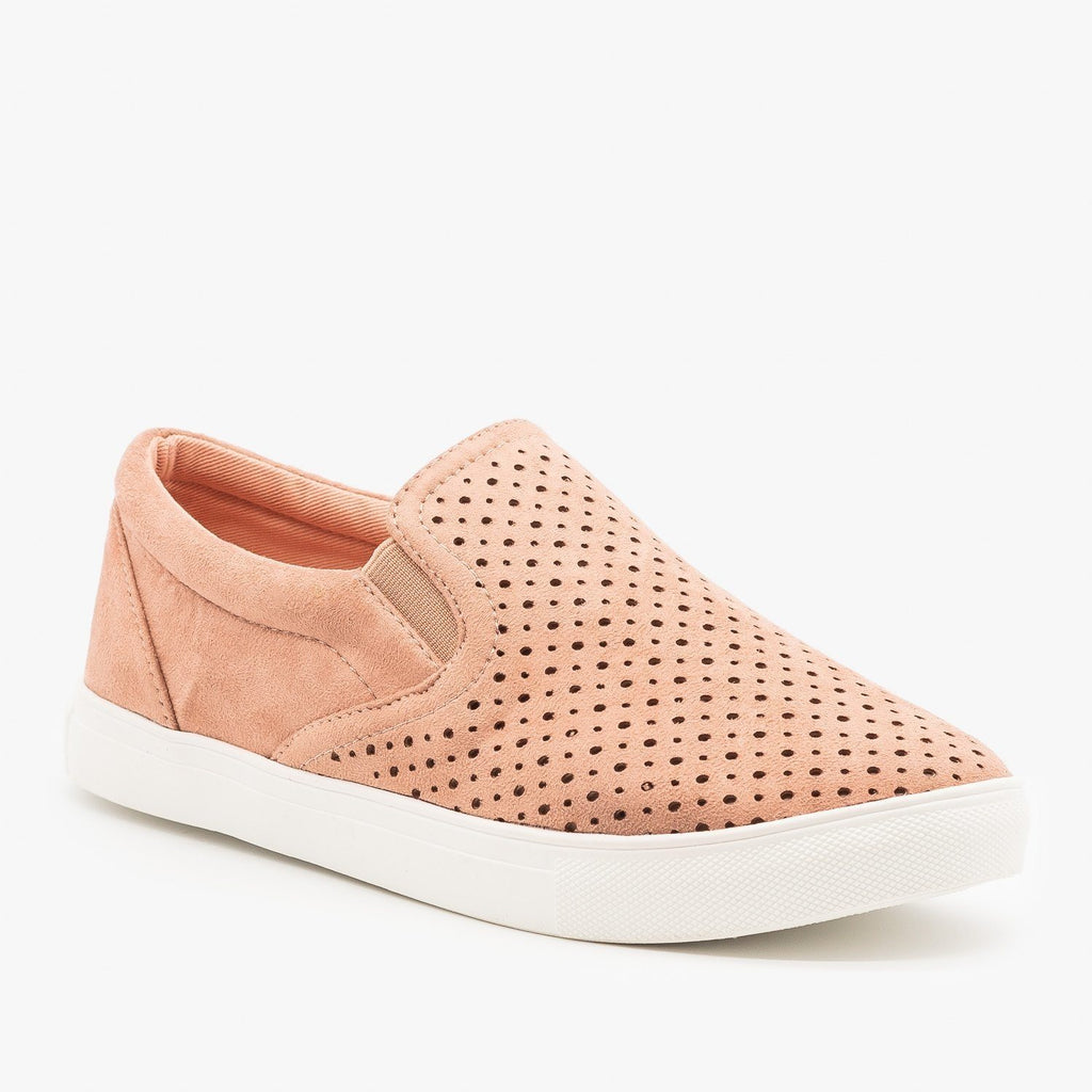 Womens Slip On Pinhole Sneakers - La Sheelah Shoes - Blush / 5