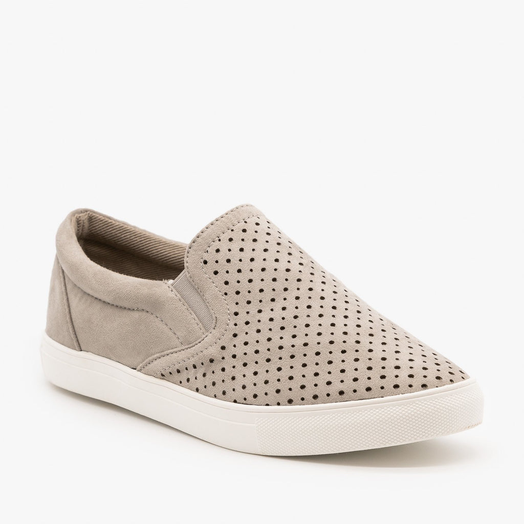 Womens Slip On Pinhole Sneakers - La Sheelah Shoes - Gray / 5