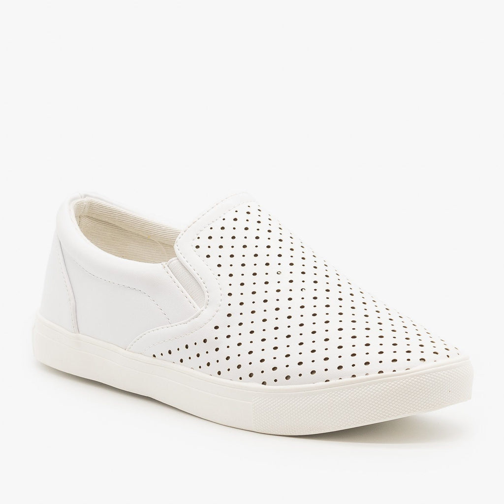 Womens Slip On Pinhole Sneakers - La Sheelah Shoes - White / 5