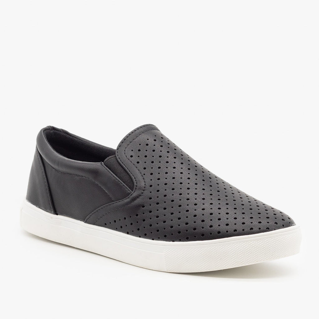 Womens Slip On Pinhole Sneakers - La Sheelah Shoes - Black / 5
