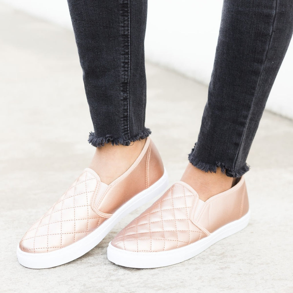 Womens Slip-On Summer Sneakers - Anna Shoes - Rose Gold / 5