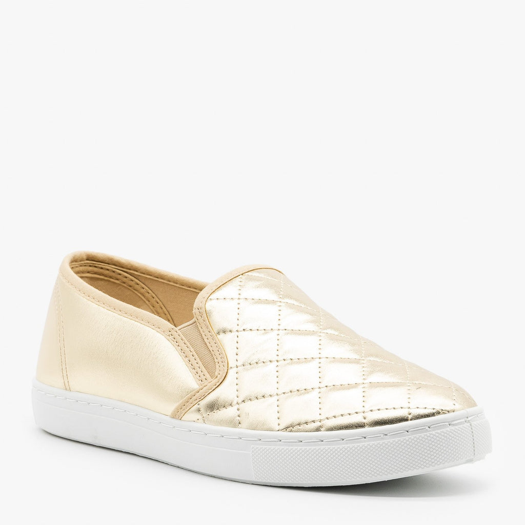 Womens Slip-On Summer Sneakers - Anna Shoes - Gold / 5