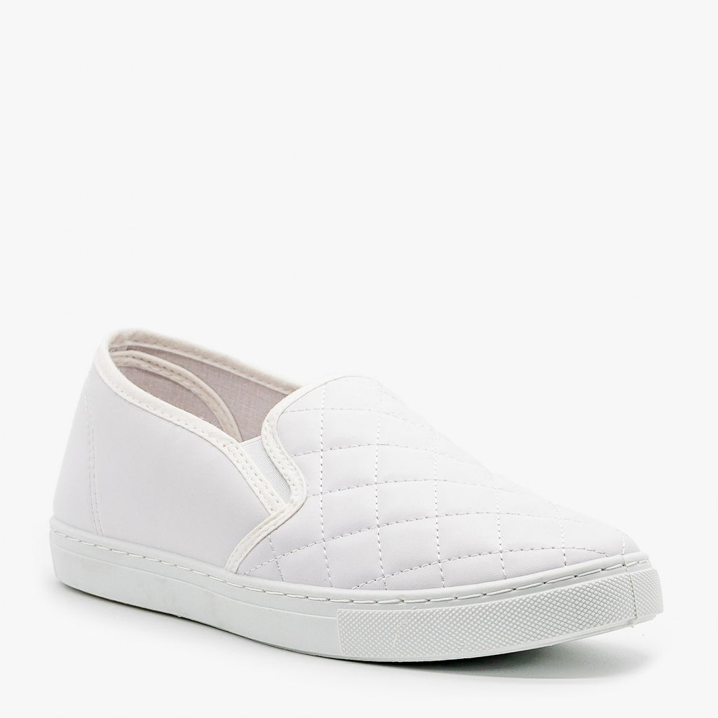Womens Slip-On Summer Sneakers - Anna Shoes - White / 5