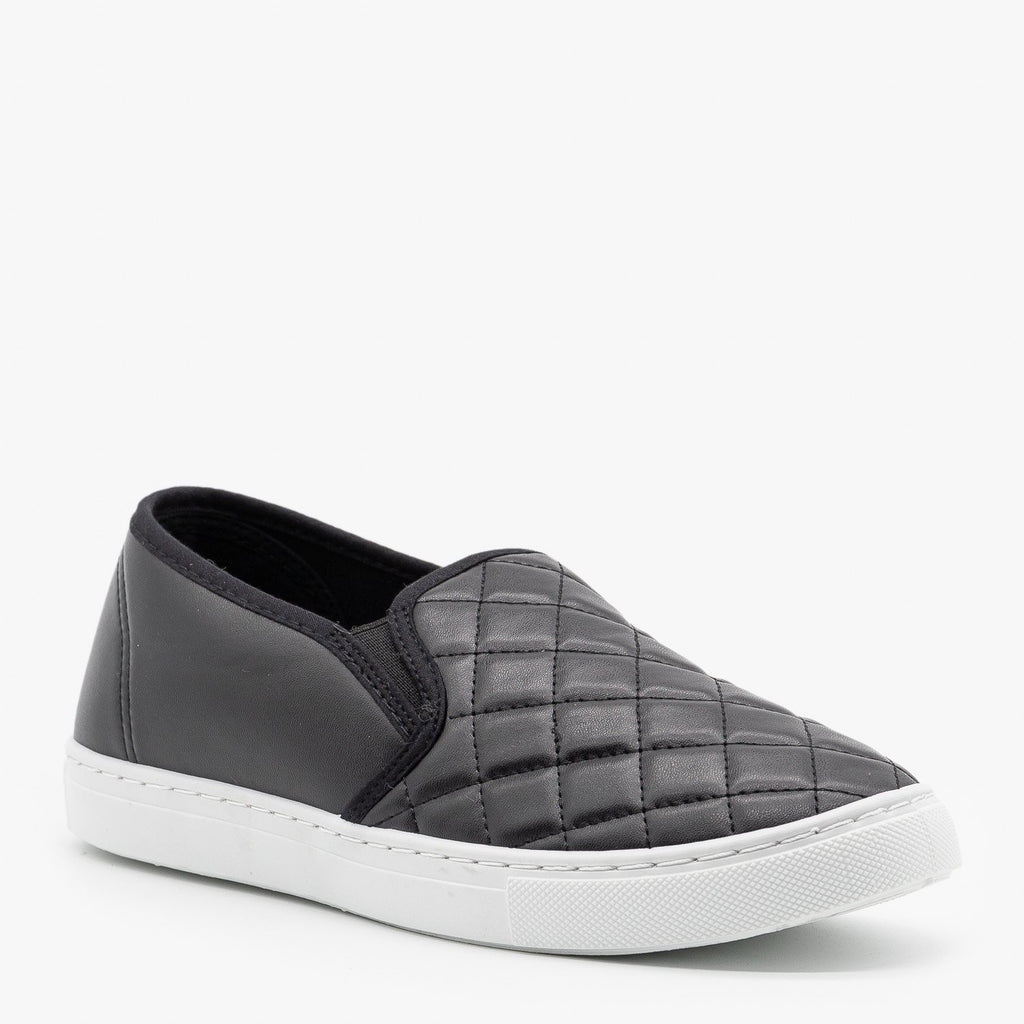 Womens Slip-On Summer Sneakers - Anna Shoes - Black / 5