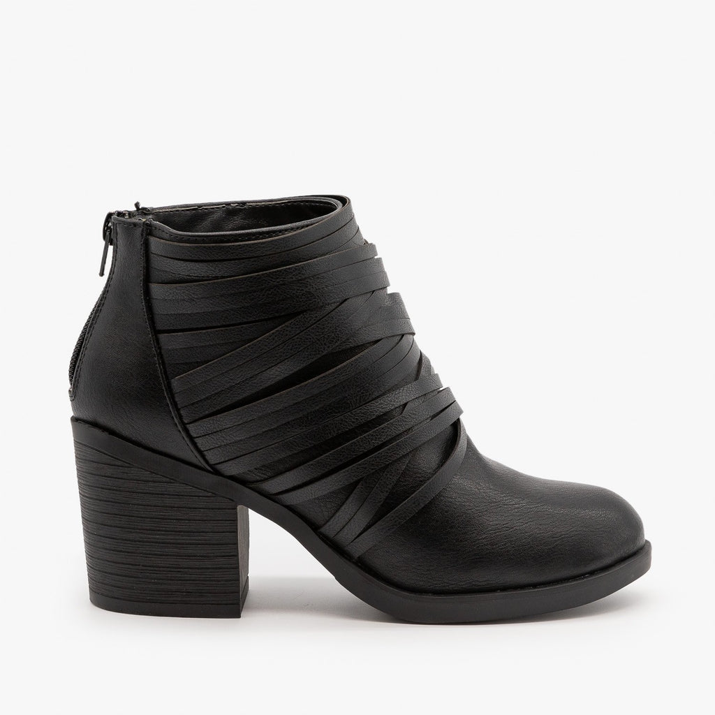 Womens Slit Strappy Booties - Bamboo Shoes - Black / 5