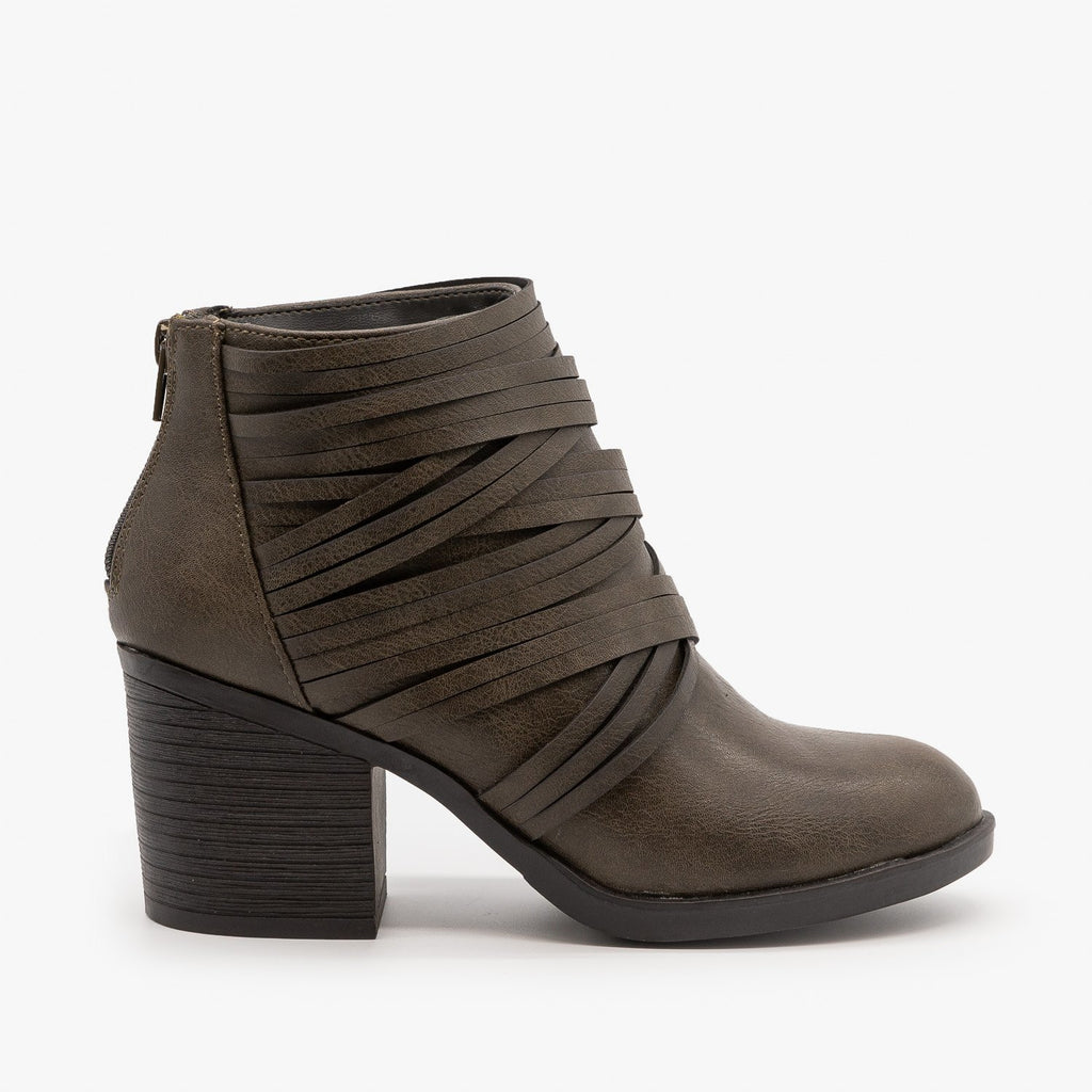 Womens Slit Strappy Booties - Bamboo Shoes - Gray / 5